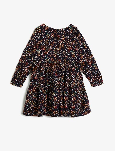 Koton Kids Desenli Elbise Lacivert